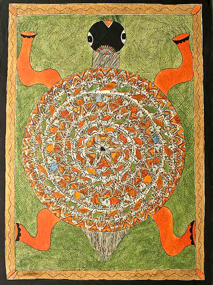 Indian Mithila Painting of a Turtle