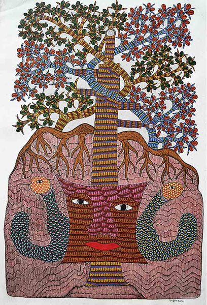 Indian Painting of Gond Fertility Tree