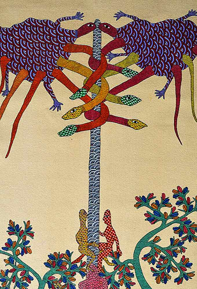 Indian Painting of Gond Mystical Tree