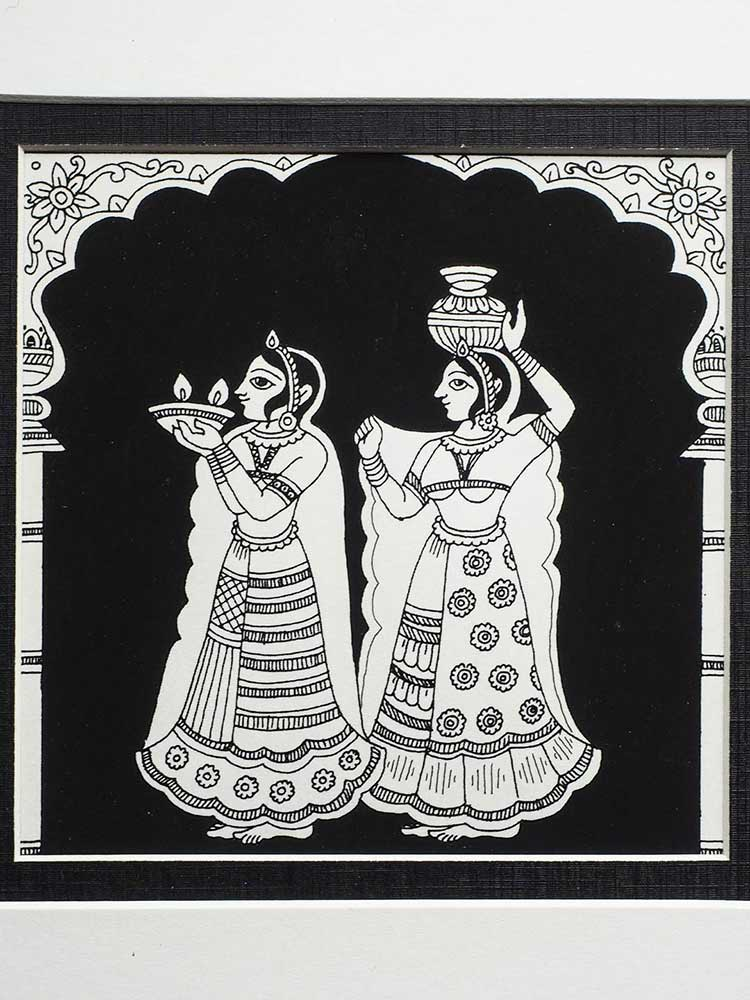 Indian Phad Painting | Two Ladies