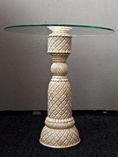 Inlaid Bone Side Table with Glass Top