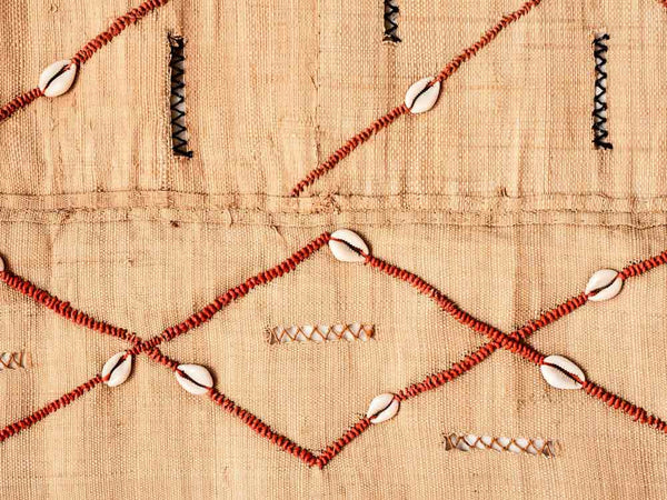 Kuba Cloth Wallhanging with Shells and Beads