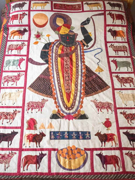 Large Krishna Appliqued Wallhanging