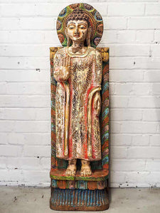 Large Painted Standing Buddha Statue
