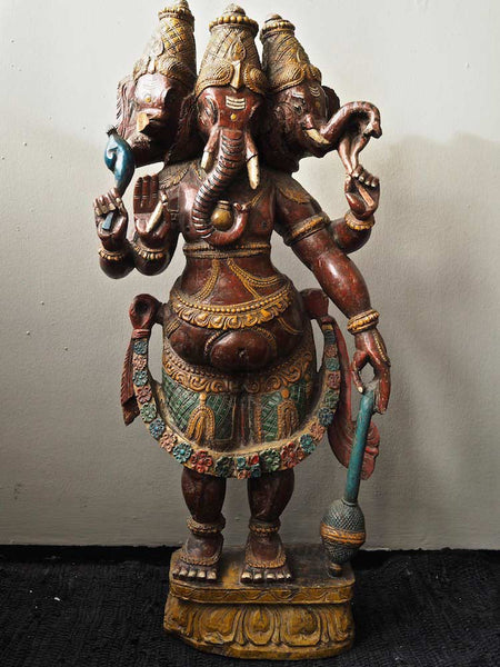Large Old Painted, Carved Ganesh Statue