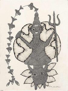 Gond Shiva, Indian Folk Art