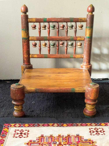 Low Indian Wooden Chair