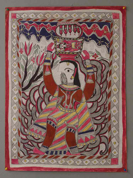 Man Carrying Woman Mithila Painting 2