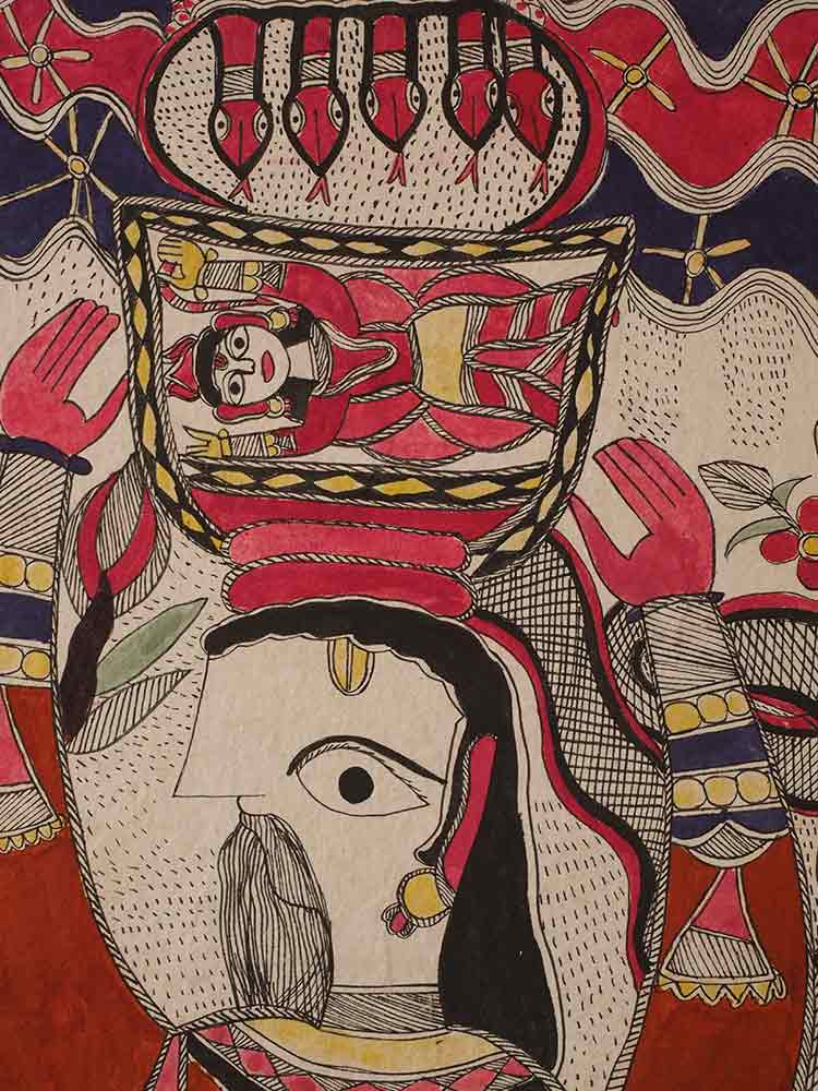 Man Carrying Woman Mithila Painting 1