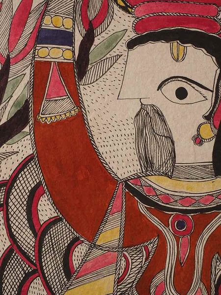 Man Carrying Woman Mithila Painting 4
