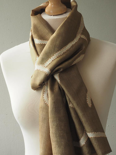 Contemporary Soft Gold Fine Silk Scarf 2