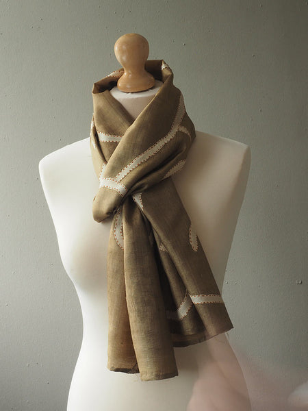 Contemporary Soft Gold Fine Silk Scarf 3