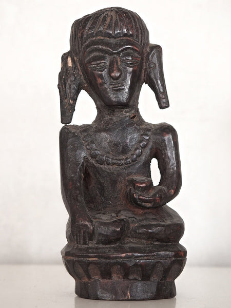 Old Dark Wooden Buddha Statue 1
