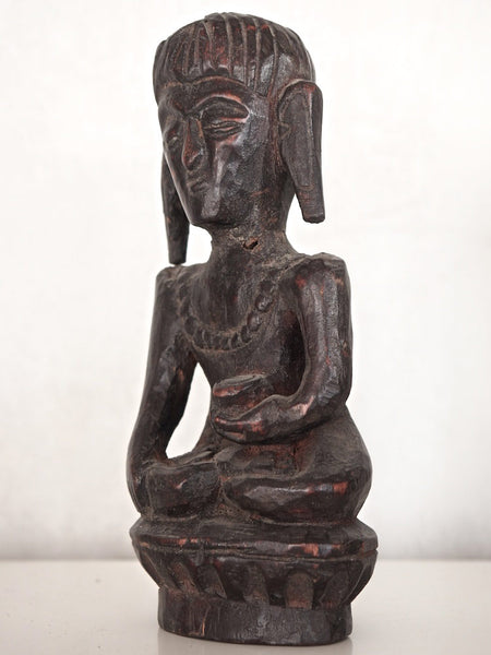 Old Dark Wooden Buddha Statue 3