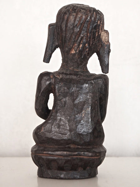 Old Dark Wooden Buddha Statue 4