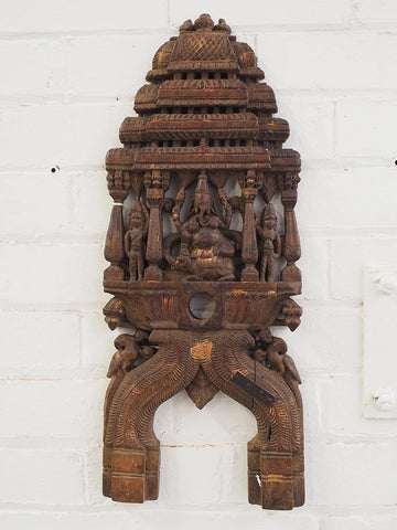 Old Carved Ganesh Panel, Red Wood 1
