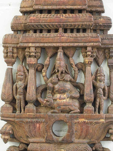 Old Carved Ganesh Panel, Red Wood 2