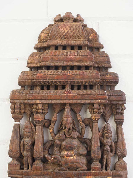 Old Carved Ganesh Panel, Red Wood 3