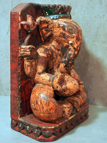 Painted Wooden Ganesh Statue 3