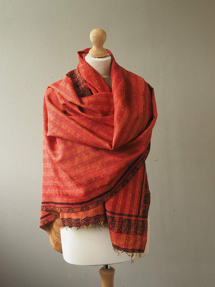 Red and Gold Kantha Embroidered Silk Shawl 1