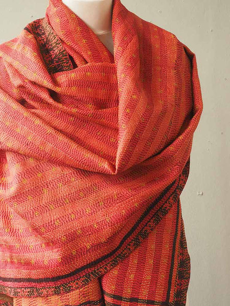 Red and Gold Kantha Embroidered Silk Shawl 2