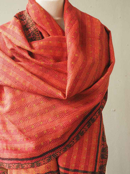 Red and Gold Kantha Embroidered Silk Shawl 3