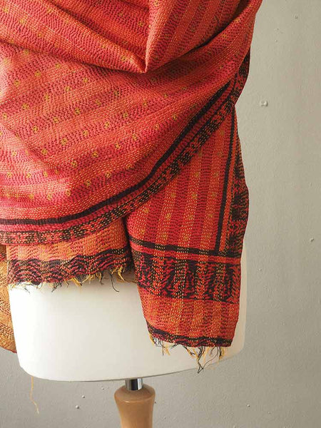 Red and Gold Kantha Embroidered Silk Shawl 4