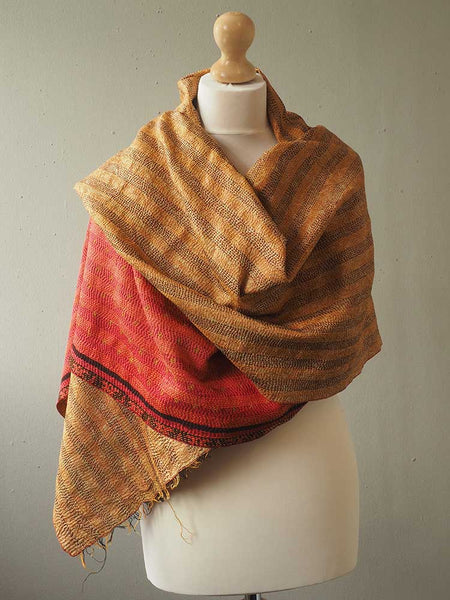 Red and Gold Kantha Embroidered Silk Shawl 5