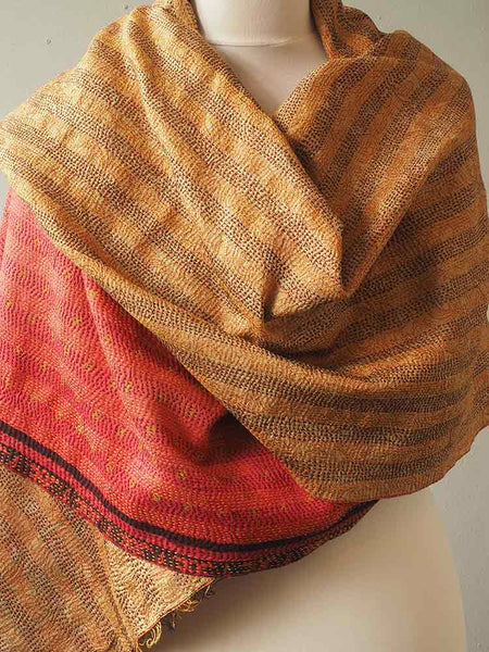 Red and Gold Kantha Embroidered Silk Shawl 6