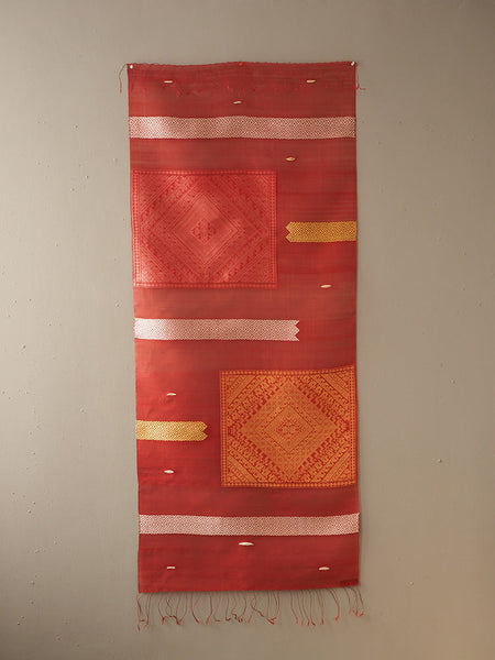 Woven Rose Silk Wallhanging from Laos 2