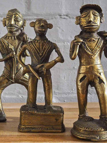 Indian Brass Statues of Tribal Hunters