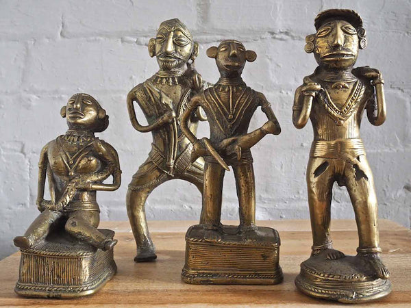 Tribal Brass Statues of Indian Hunters 1