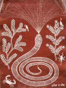 Snake & Rainbow Warli Folk Art 1