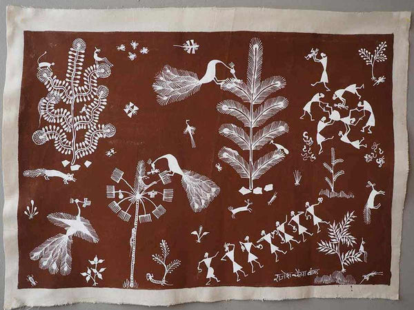 Warli Painting of Village and Childbirth 2