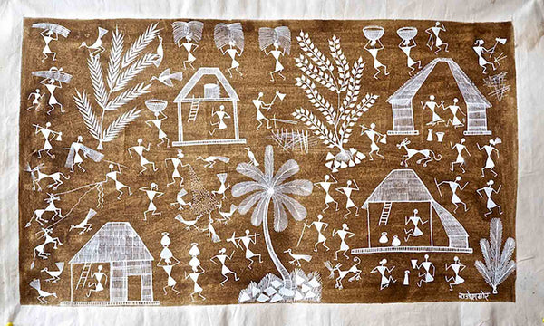 Warli Painting of Village with Palm Tree 2