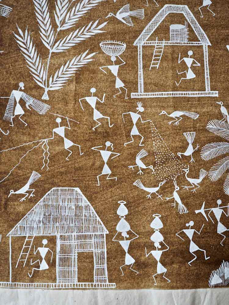 Warli Painting of Village with Palm Tree 1