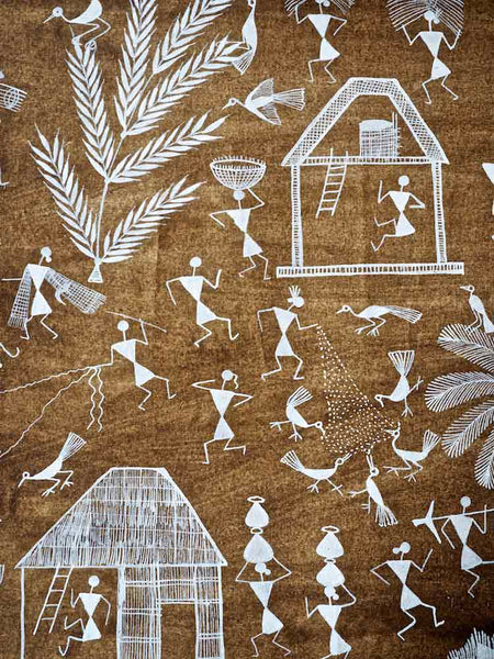 Warli Painting of Village with Palm Tree 3