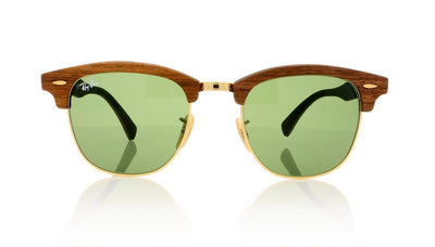 Ray-Ban Clubmaster wood RB3016-M 1182/4E Walnut Rubber Green Sunglasses at OCO