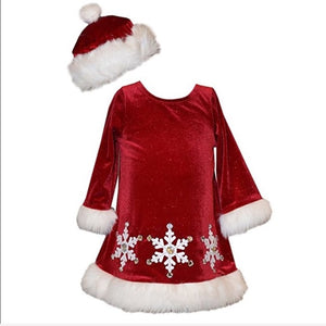 Girl Red Velour Santa Snowflake Dress with HAT