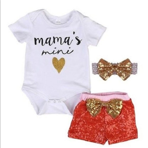 3PC Mama's Mini Outfit Bodysuit Shorts Headband