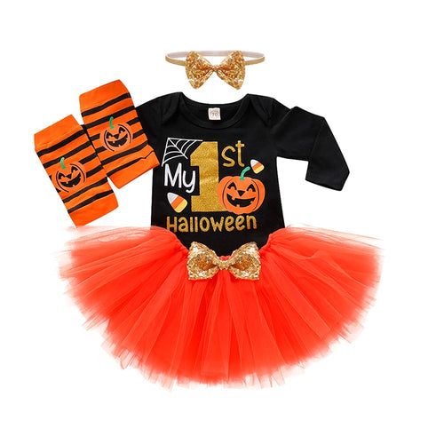 My First Halloween 4PC Pumpkin Outfit