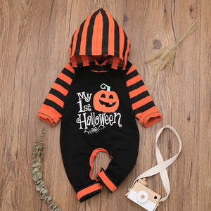 First Halloween Pumpkin | Long Sleeve Striped Outfit