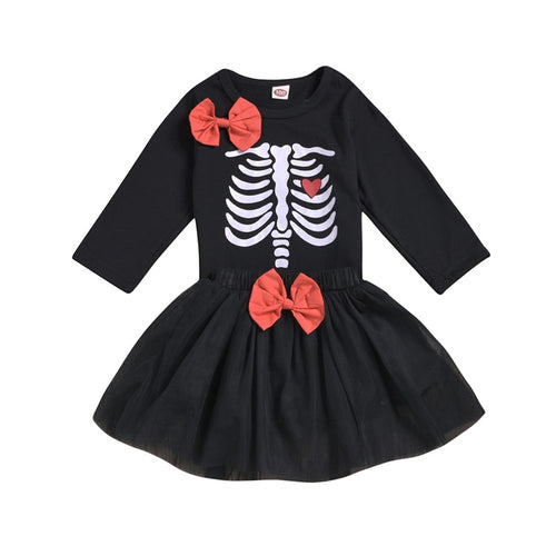Halloween Long Sleeve Top And Mesh Skirt