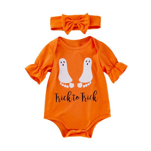 2pcs Halloween Trick or Treat | Long Sleeved Bodysuit with Matching Headband