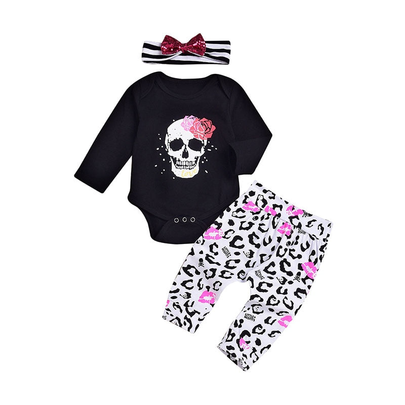 3PC Halloween Skull Outfit