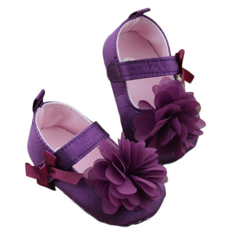 Baby Girls Purple Shoes Bowknot Flower Sole Walking Shoes
