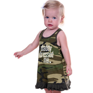 """Daddy Dressed Me"" Sleeveless Camouflage Dress"