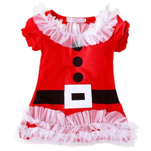 Little Girl's Christmas Santa Dress Short Sleeves Ho Ho Ho - The Little Girl's Store