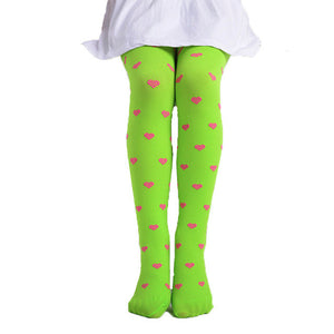 Girls Fun Footed Hearts Dots Tights Stockings