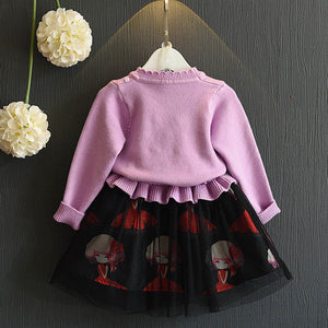 Girls Dress With Raglan Knitted Patchwork Sweater